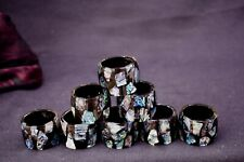 More details for eight natural abalone napkin rings,made in australia, beautiful quality.vintage