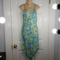 EXPRESS vintage Size 5/6 Blue Floral V Neck Top Sleeveless Spaghetti Strap Dress
