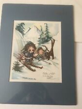 Framed Matted 1981 Jody Bergsma Numbered 3236/4500 Lithograph Kids In Snow
