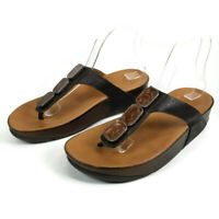Fitflop Pietra Womens Size 9 Brown Leather Casual Slides Flip Flops Sandals