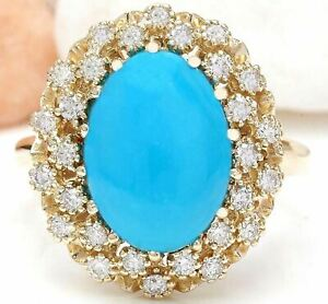 3.88 Carat Natural Turquoise 14K Solid Yellow Gold Diamond Ring