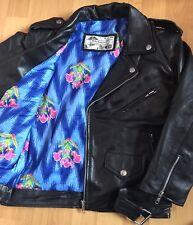 Genuine Soft Leather Vtg Floral Lined Cropped Motorcycle Biker Jacket 8 4 36