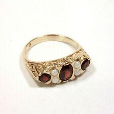 Vintage Estate Garnet & Pearl Ring 10K Yellow Gold Gold - Size 8.25