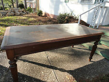 Antique Victorian Walnut Original Leather Top & Finish Table: 6'x3'