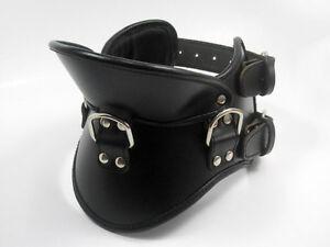 BLACK LEATHER Bondage Collar Padded Posture With Locking Buckles