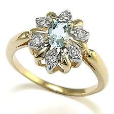 14k Solid Gold Diamond & Aquamarine Ring Russian Style Ring #R1279