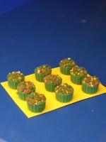 Vasi in legno verde fioriti rotondi  per plastici H0 - 1:87 pezzi 9 - KREA