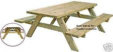 Wooden Picnic Bench - 6 Seater Fold Up Seats FREE DELIVERY 50 miles Boston