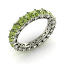 4.40 Carat Real Diamond Peridot Eternity Band 950 Platinum Ring Size M N O P
