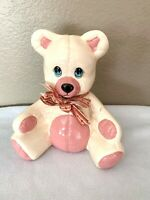 Vintage Ceramic Off White & Pink  Teddy Bear Still Coin Piggy Bank with Stopper