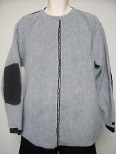 Classic Vintage TOMMY HILFIGER Fleece Pullover Gray w/ Black Elbow Pads Sz L