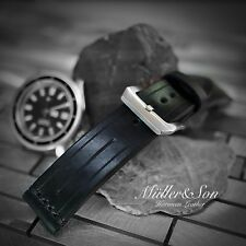 Müller&Son Genuine Horween Leather 22 mm Black Watch Strap Custom Made in USA