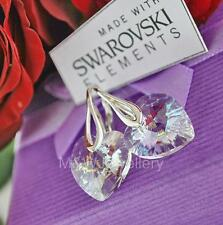 925 STERLING SILVER EARRINGS CRYSTALS FROM SWAROVSKI® HEART WHITE PATINA 14MM