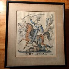 A 15TH HUSSAR - HAND COLOURED COPPERPLATE ENGRAVING BY D. ASH LONDON 1826
