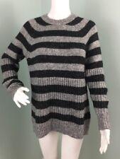 NWT Womens Banana Republic Gray/Black Striped Italian Yarn Sweater Sz S Small