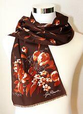 """Vintage JIM RENUAR PARIS Scarf ~ Brown / Autumn Floral ~ 53"""" x 11"""" Hippie / BOHO"""