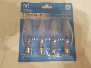 Clear Light Bulbs, Set of 4, Multi-Use, 40 Watts, 'GE' Brand