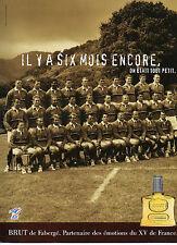 """Publicité Advertising 2000  Parfum BRUT de Fabergé  ORIGINAL """"XV de France"""""""