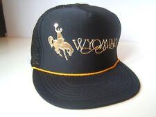 Wyoming Cowboy on Horse Hat Vintage Black Snapback Rope Trucker Cap