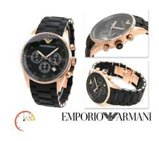 NEW EMPORIO ARMANI WATCH AR5905 ROSE GOLD BLACK SILICONE RUBBER CHRONOGRAPH MENS