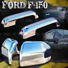 For 2015 Ford F-150 Chrome 2D Door Handle Cover + Chrome Top Half Mirror Cover