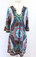 Aryeh Brown Blue Green Colorful Geometric Medallion Print Tunic Shift Dress Sz L