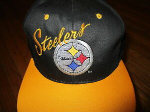 vtg 90s PITTSBURGH STEELERS HAT Cap Classic Embroidered Logo Snapback Two-Tone