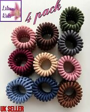 Fabric Spiral Coil Wire Hair Bands/Bobbles - 4 Pack - Various Colours
