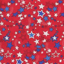 RED WHITE & BLUE STARS ON BRIGHT RED  Cotton Fabric BTY Quilting Craft Etc