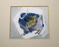 vintage original Pat San Soucie watercolor figural buffalo animal painting