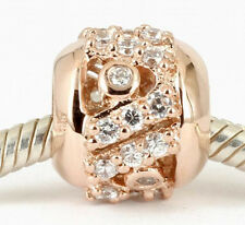 SOLID 9CT ROSE GOLD Classic BEAD with 28 Sparkling CZ Fit Charm Bracelet / Chain