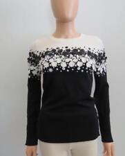 Carolina Herrera Black/White Wool Beaded Floral Applique Sweater Size M
