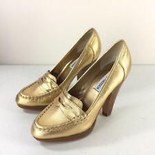 Steve Madden 6 Gold Leather Platform Loafers Heels Career Cocktail EUC