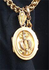 Vintage Estate VICTORIAN locket watch fob chain gold w/hair photo soldier inside