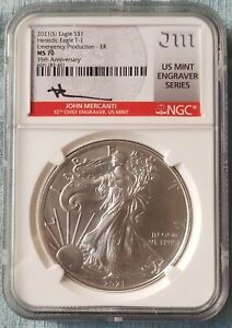 2021 (S) SILVER EAGLE NGC MS70  Mercanti Struck At San Francisco EMERGENCY ISSUE