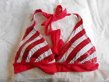 NEW Vanity sz Small Dark Pink/White Sequin Triangle Swim suit String Bikini top!