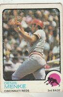 FREE SHIPPING-GOOD TO FAIR--1973 TOPPS DENIS MENKE #52 REDS PLUS BONUS CARDS