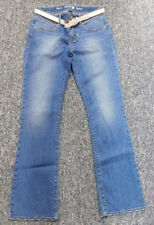 APT. 9 Women's Medium Wash Faded Whisker Bootcut Jeans w/White Belt Size 4