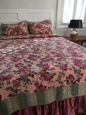 Pine Cone Hill Queen Floral Quilt  Set 4 Pc Linens Standard Shams Bed Skirt