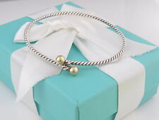 Tiffany & Co Silver 18K Gold Twisted Rope Love Hook Knot Bangle Bracelet
