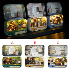 Miniature Doll House Mini Wooden Dollhouse Furniture DIY Kit Gifts w/LED Lights