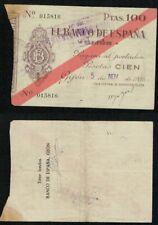 Gijón 100 Pesetas año 1936. Caja Central de Depósitos. Nº BAJO 015816. BONITO.