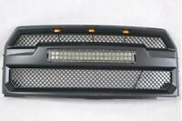For 2015-2017 Ford F150 Black Mesh Grille W/ LED Light Bar+3 Amber Lights F-150