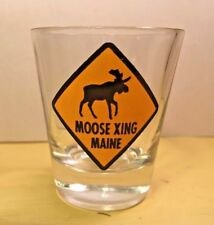 Maine souvenir shot glass - Moose Crossing - Travel Memorabilia Collectible