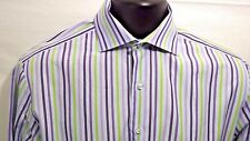 Thomas Pink Men's Slim Fit Shirt Blue Purple Green Stripes Sz 15.5 French Cuff