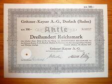 D: MOTORRÄDER/ NÄHMASCHINEN: Gritzner-Kayser, Durlach, 1937, 300 RM*
