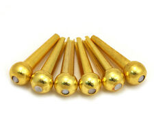 D'Andrea Tone Pins Round Pearl Dot Brass Acoustic Guitar Bridge Pin Set TP4T