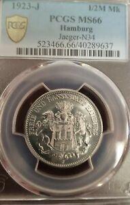 1923 J 1/2 Million Mark Notgeld Hamburg Germany. PCGS MS66, Aluminum
