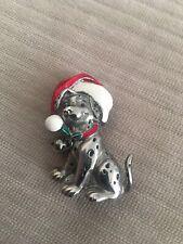 "Christmas Brooch Pin Pewter Tone Dalmation Dog Santa Hat Signed Disney 1 3/4"""