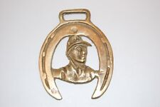 Antique Horse Brass with Fireman and Horse shoe